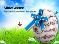 Easter Egg With Bow Holiday PowerPoint Templates Ppt Backgrounds For Slides 0313