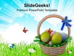 Easter Eggs Basket To Gift PowerPoint Templates Ppt Backgrounds For Slides 0313