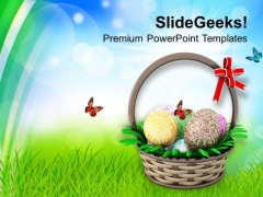 Easter Eggs In Basket Holidays PowerPoint Templates Ppt Backgrounds For Slides 0313