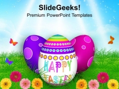 Easter Eggs In Garden With Butterflies PowerPoint Templates Ppt Backgrounds For Slides 0313