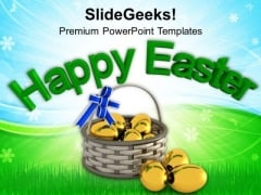 Easter Eggs In Gift Basket PowerPoint Templates Ppt Backgrounds For Slides 0313