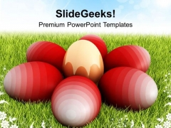 Easter Eggs On Green Grass Festival PowerPoint Templates Ppt Backgrounds For Slides 0313