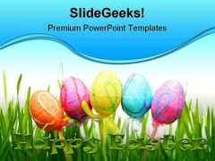 Easter Eggs Religion PowerPoint Template 0610