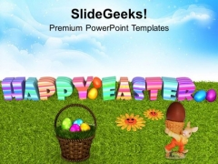 Easter Eggs With Flower On Grass PowerPoint Templates Ppt Backgrounds For Slides 0313