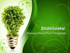 Eco Tree Lightbulb Environment PowerPoint Themes And PowerPoint Slides 0411