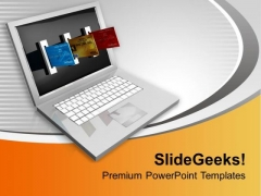 Ecommerce Laptop And Credit Card Internet PowerPoint Templates Ppt Backgrounds For Slides 0213