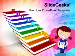 Education On Books As Staircase Future PowerPoint Templates And PowerPoint Themes 1012