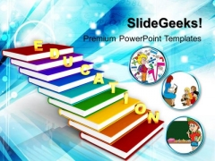 Education On Books As Staircase PowerPoint Templates And PowerPoint Themes 1012
