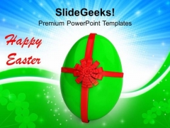 Egg With Red Bow Celebration PowerPoint Templates Ppt Backgrounds For Slides 0313