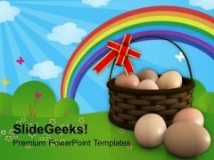 Eggs In Basket Symbolizes New Life PowerPoint Templates Ppt Backgrounds For Slides 0313