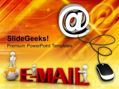 Email Symbol With Computer Mouse Internet PowerPoint Templates Ppt Backgrounds For Slides 0113