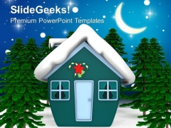 Enchanted Christmas House With Snow Holidays PowerPoint Templates Ppt Backgrounds For Slides 1212