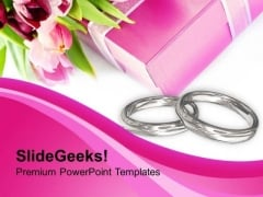 Engagement And Wedding Rings With Gift PowerPoint Templates Ppt Backgrounds For Slides 0313