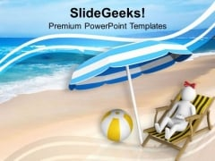Enjoy The Holiday At Beach PowerPoint Templates Ppt Backgrounds For Slides 0813
