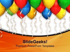 Enjoy The Party With Colored Balloon Theme PowerPoint Templates Ppt Backgrounds For Slides 0613