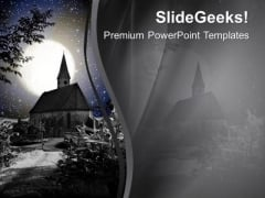 Enjoy The Snowfall In Church PowerPoint Templates Ppt Backgrounds For Slides 0613