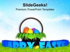 Ester With Surprise Egg Basket Garden PowerPoint Templates Ppt Backgrounds For Slides 0313