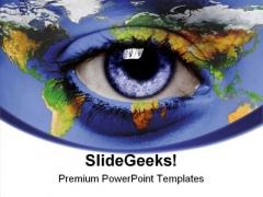 Eye World Earth PowerPoint Template 0910
