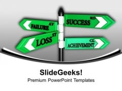 Failure Loss Success Achievement Signboard PowerPoint Templates Ppt Backgrounds For Slides 0213