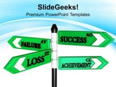 Failure Success And Achievement Signpost PowerPoint Templates Ppt Backgrounds For Slides 0313