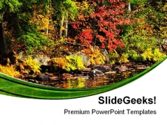 Fall Forest And Lake Shore Nature PowerPoint Themes And PowerPoint Slides 0411