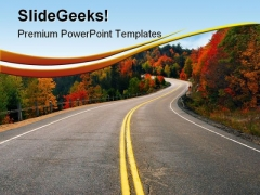 Fall Highway Nature PowerPoint Themes And PowerPoint Slides 0511