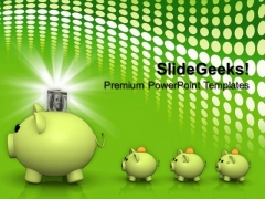 Family Of Piggy Banks Saving PowerPoint Templates And PowerPoint Themes 1012