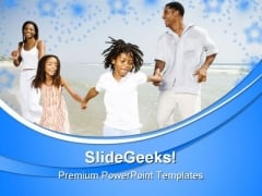 Family On Beach Vacation PowerPoint Templates And PowerPoint Backgrounds 0511