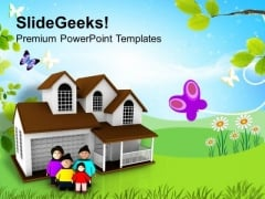 Family Outside Their Home PowerPoint Templates Ppt Backgrounds For Slides 0713