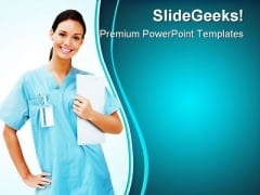 Female Doctor Smiling Medical PowerPoint Templates And PowerPoint Backgrounds 0811