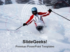 Female Skier Sports PowerPoint Themes And PowerPoint Slides 0511