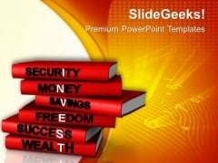 Financial Investment Concept On Stack Of Books PowerPoint Templates Ppt Backgrounds For Slides 0513