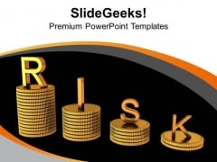 Financial Risk On Stack Of Dollar Coins PowerPoint Templates Ppt Backgrounds For Slides 0313