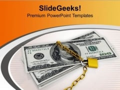 Financial Security Concept Padlock And Dollars PowerPoint Templates Ppt Backgrounds For Slides 0313
