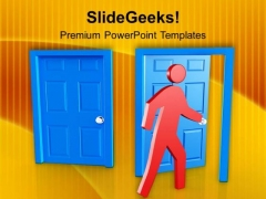 Find The Right Door Of Achievement PowerPoint Templates Ppt Backgrounds For Slides 0613