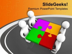 Fixing A Puzzle Is Easy Task For Team PowerPoint Templates Ppt Backgrounds For Slides 0613