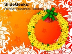 Floral Wreath On Abstract Background PowerPoint Templates Ppt Backgrounds For Slides 1212
