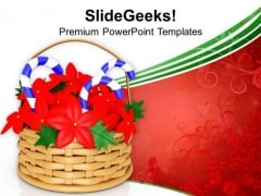Flower Basket With Blue Candy Cane PowerPoint Templates Ppt Backgrounds For Slides 1212
