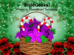 Flower Basket With Candies Christmas PowerPoint Templates Ppt Backgrounds For Slides 1212