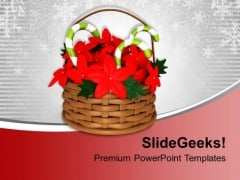 Flower Basket With Candy Cane PowerPoint Templates Ppt Backgrounds For Slides 0113