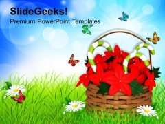Flower Basket With Candycane PowerPoint Templates Ppt Backgrounds For Slides 1212