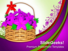 Flower Basket With Pink Flowers Blossom PowerPoint Templates Ppt Backgrounds For Slides 1212