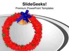 Flower Wreath With Bells And Bow PowerPoint Templates Ppt Backgrounds For Slides 1212