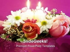 Flowers Arrangement Nature PowerPoint Template 0810