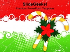 Flowers On Candy Canes Christmas Eve PowerPoint Templates Ppt Backgrounds For Slides 1212