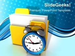 Folder And Clock Business PowerPoint Templates And PowerPoint Themes 1012