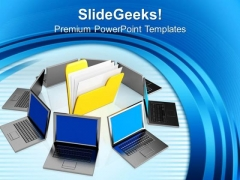 Folder And Laptop Business PowerPoint Templates And PowerPoint Themes 1012