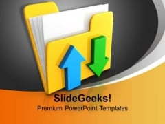 Folder Icon Date Transferring Concept Computer PowerPoint Templates Ppt Backgrounds For Slides 1212
