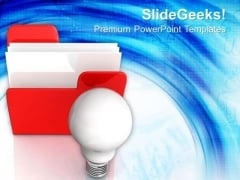 Folder Icon With Bulb PowerPoint Templates And PowerPoint Themes 1012