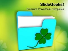 Folder Icon With Clover PowerPoint Templates Ppt Backgrounds For Slides 0313